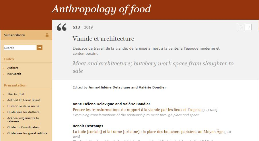 Anthropology of Food – Viande et architecture